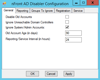 nFront Account Disabler Configuration dialog.