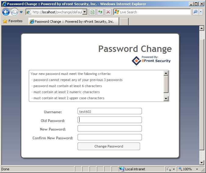 nFront Web Password Change - Password Rules