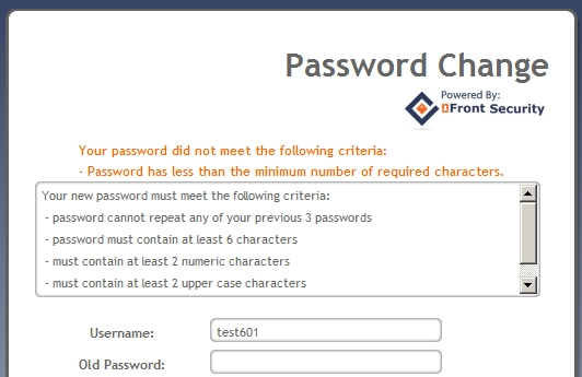 nFront Web Password Change - Password Failure