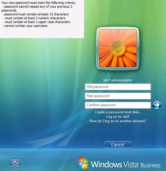 windows 7 how to change domain password